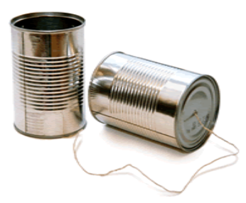 Tins connected by string
