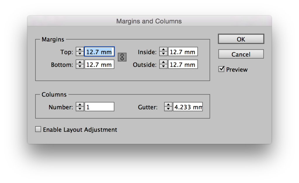 Margins and Columns Dialog in InDesign