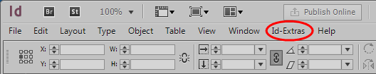 Id-Extras InDesign menu item, Windows