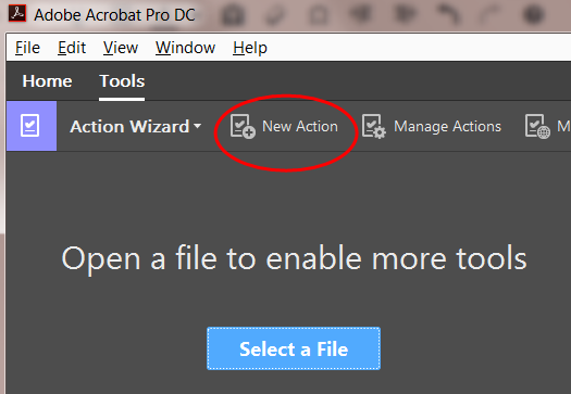 "The ""New Action"" button in Acrobat"