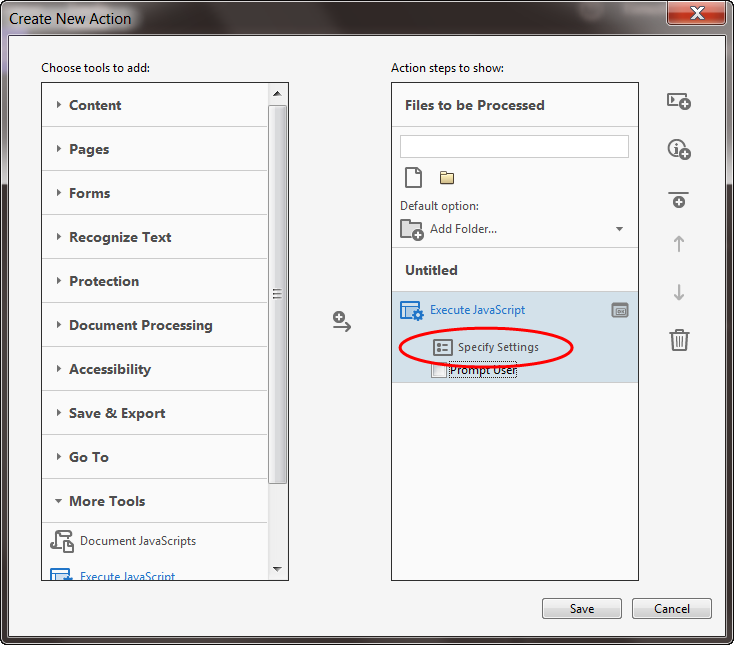 """Specify Settings"" in Acrobat"