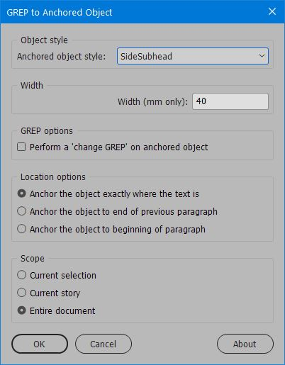 Grep to Anchored Object Screenshot